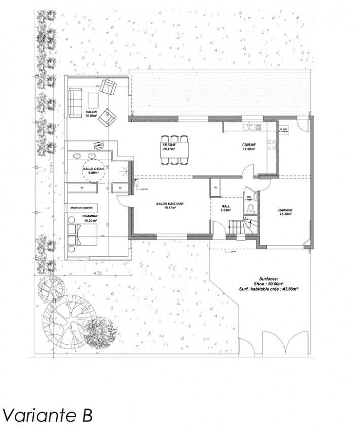 Extension d'une maison d'habitation (44) : PLAN B