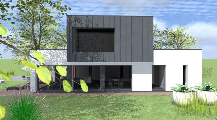 Maison neuve - Projet L+P : 2- Maison contemporaine maitre d\'oeuvre 35 rennes toiture plate