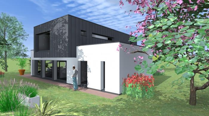 Maison neuve - Projet L+P : 3- Projet maison d\'architecte rennes Nicolas Monceau 53