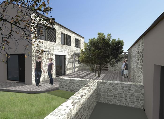 Rénovation d'un ancien corps de ferme : Vue patio