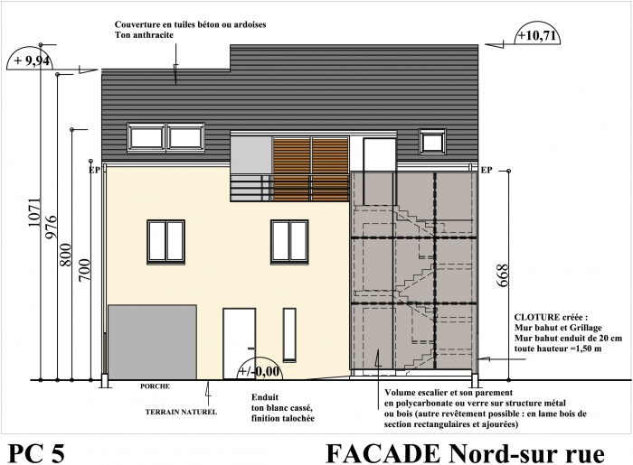 Petit collectif de 5 logements : façade sur rue